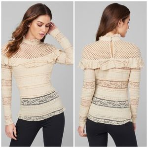 Beige Nude Mesh Lace Blouse Top